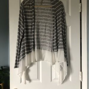 super cozy sweater with sheer at bottom